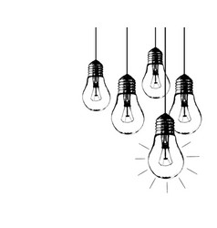 grunge with hanging light bulbs and place vector image