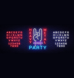 heavy metal party neon sign rock music vector image
