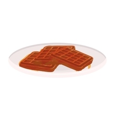 Image color of dish with waffles vector