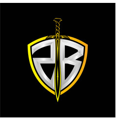 Initials z b is a shield decorated vector