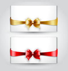 Invitation card with Gold and red holiday bow vector