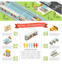isometric metro infographic concept vector image