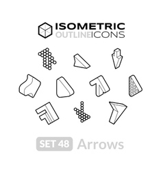 Isometric outline icons set 48 vector image