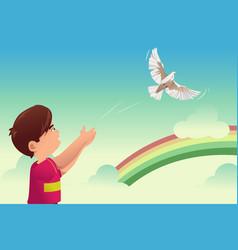 Kid release a bird vector