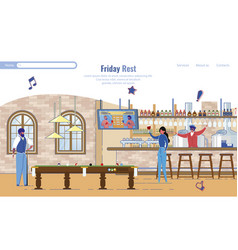 Landing page inviting spend friday at cafeteria vector