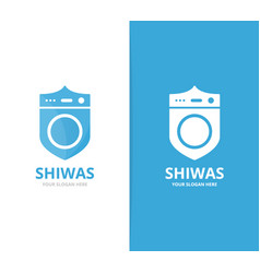 Laundry and shield logo combination vector