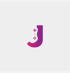 Letter jgame logo design template gamepad icon vector