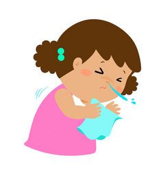 little girl sneezing cartoon vector image