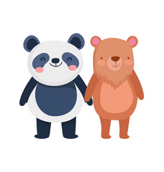 little panda and bear cartoon character on white vector image
