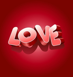Love text on red background for Valentines Day vector image vector image