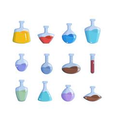 Magic bottles alchemy potion elemental magic 2d vector