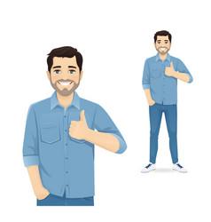 Man showing thumb up vector