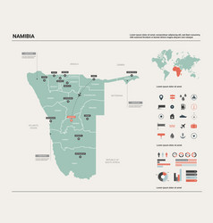 Map namibia country map with division cities vector