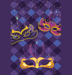 mask with harlequin pattern background vector image