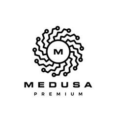 medusa mandala tech logo icon vector image
