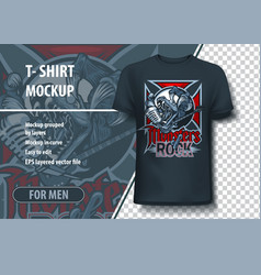 Monsters rock t-shirt mock-up with aggressive vector