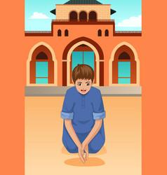 Muslim kid praying in mosque vector