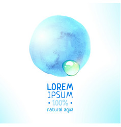 natural aqua magic blue watercolor label vector image