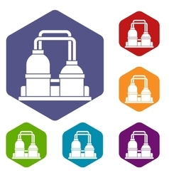 Oil processing factory icons set vector