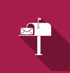 open mail box with an envelope with long shadow vector image
