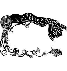 Ornate frame sleeping mermaid vector