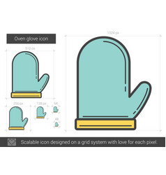 Oven glove line icon vector