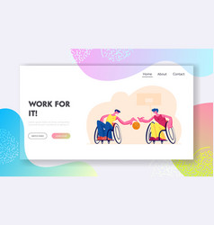 Paralympic athletes training website landing page vector