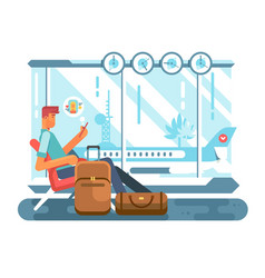 Passenger waiting at airport of departure vector