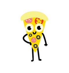 pizza cartoon character in vector image