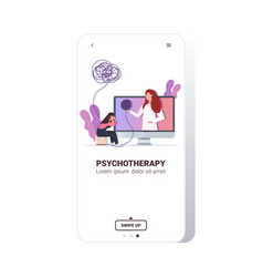 psychotherapist consulting patient during internet vector image
