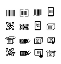 QR code and Bar code icons set Scan coding vector
