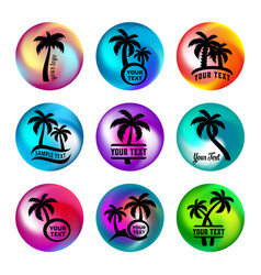 rainbow ball like buttons with palm trees vector image