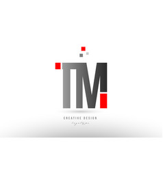 red grey alphabet letter tm t m logo combination vector image