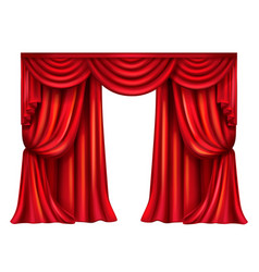 Red theatrical curtain on white background vector