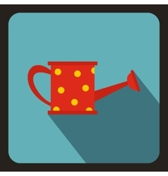 Red watering can with yellow dots icon vector image