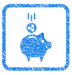 ripple piggy bank framed stamp vector image