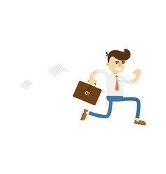 Running businessman with suitcase vector