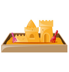 Sand castle in sandbox vector