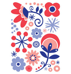 scandinavian folk art floral design vector image