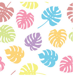 seamless pattern of monstera leaves colorful vector image