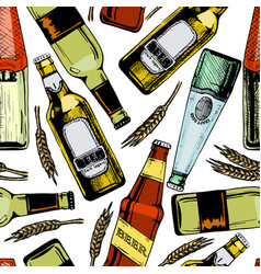 Seamless pattern with different beer bottles vector