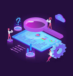 seo technology dark neon isometric vector image