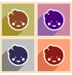 Set flat icons with long shadow baby girl vector