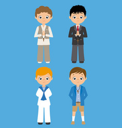 Set of four children in communion costume vector