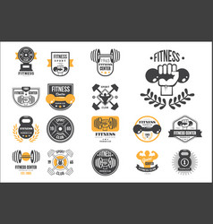 set of retro fitness logo templates vector image