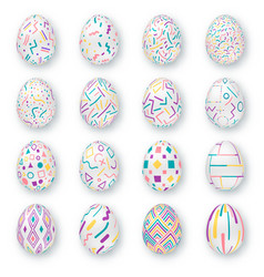 set ornate realistic eggs on white background vector image