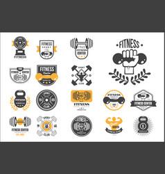 Set retro fitness logo templates vector