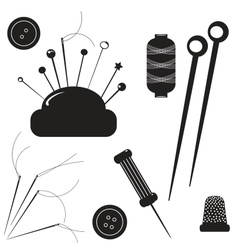 Sewing kit Set for sewing on a white background vector