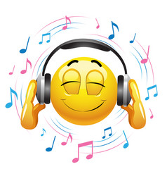 Smiley emoticon listening to music smiley hold vector