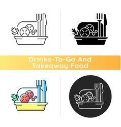 Takeaway salads icon vector